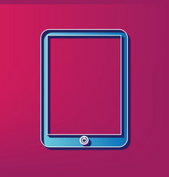 Computer tablet sign blue 3d printed icon vector