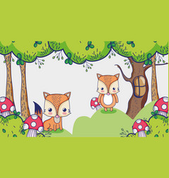Cute foxes in the forest doodles cartoon vector