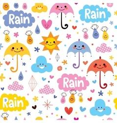 Cute umbrellas rain sky seamless pattern vector