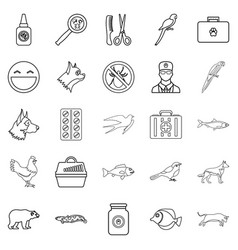 domestic animal icons set outline style vector image