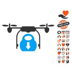 drone drop cargo icon with valentine bonus vector image vector image