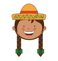 farmer girl character icon vector image