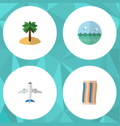 Flat icon season set of wiper aircraft coconut vector