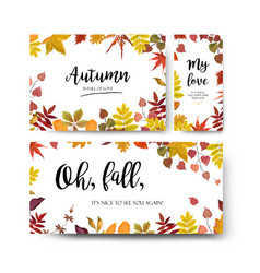 Floral watercolor style card design autumn season vector