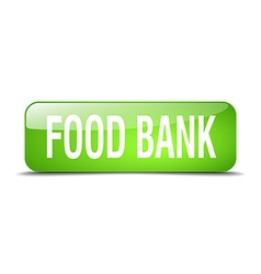 Food bank green square 3d realistic isolated web vector