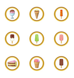 Food from the freezer icons set cartoon style vector