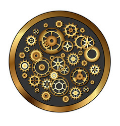Golden skeleton clockwork vector