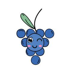 Kawaii cute funny grape fruit vector
