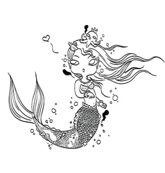 Lovely mermaid for coloring vector