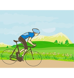Man riding a bike in the mountains vector