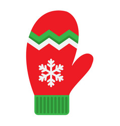 mitten flat icon new year and christmas xmas vector image vector image