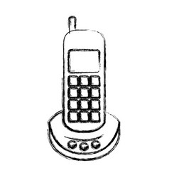Monochrome blurred silhouette of cordless phone vector