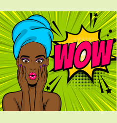 Pop art black girl wow face towel head vector