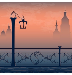 postcard with cityscape lantern and bridge vector image