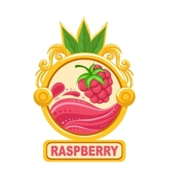 Raspberry bright color jam label sticker template vector