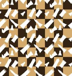 Seamless pattern chessboard and chess pieces vector image