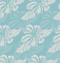 Seamless pattern with white flowers on a blue vector image vector image