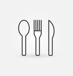 spoon with fork and knife icon or symbol vector image