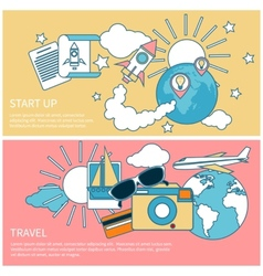 Start up rocket and international travel vector