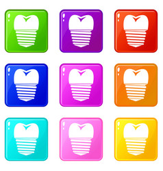Tooth implant icons 9 set vector