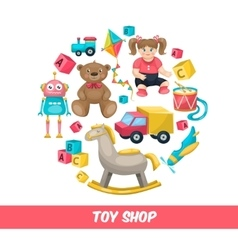 Toy Shop Round Composition vector image vector image