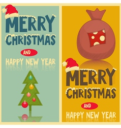 Two Christmas Greeting Cards vector image vector image