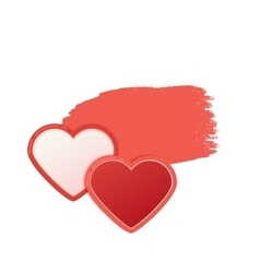 Two red hearts with watercolor style stroke vector
