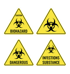 Warning yellow signs in triangular shape vector