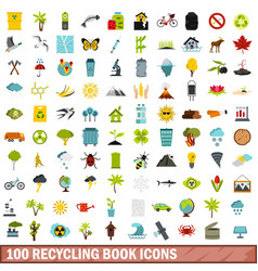 100 recycling book icons set flat style vector