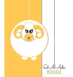 Eid-Al-Adha greeting card with sheep vector image