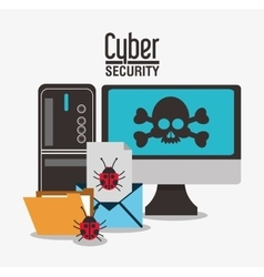 Cyber security system computer design vector