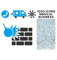 Destruction icon with 1000 medical business vector