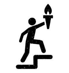Climbing leader with torch grainy texture icon vector