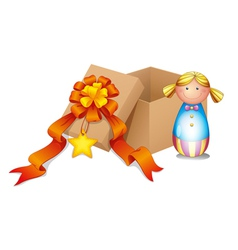 A baby doll with a box vector image