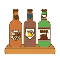Contour bottles of beer icon image vector