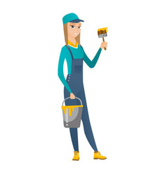 Painter with brush and bucket of paint vector