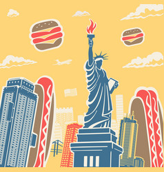 American symbols architecture and food background vector