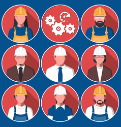 Flat avatars of engineering workers vector