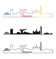 Glasgow skyline linear style with rainbow vector