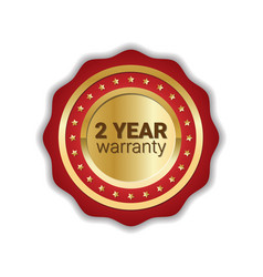 2 years warranty badge golden label icon isolated vector
