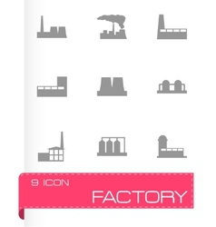 Black factory icon set vector