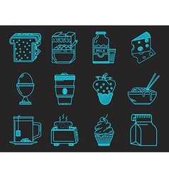 Breakfast blue icons collection vector