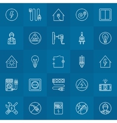 Electricity linear icons set vector