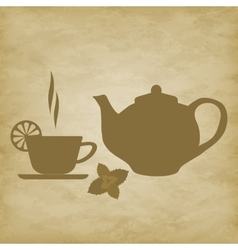 Tea cup with saucer vector