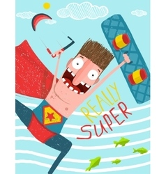 Kitesurfing caricature superman cartoon card vector image