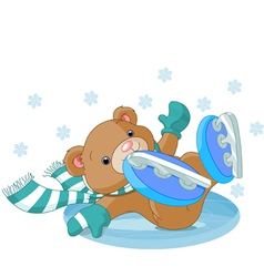 Bear fell on the ice rink vector