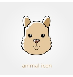 Lama flat icon animal head symbol vector
