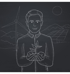 Man holding plant vector