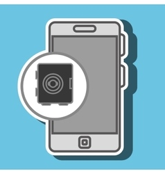 Smartphone and safe box isolated icon design vector