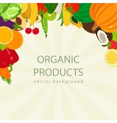 Organic food background with colorful fruits and vector